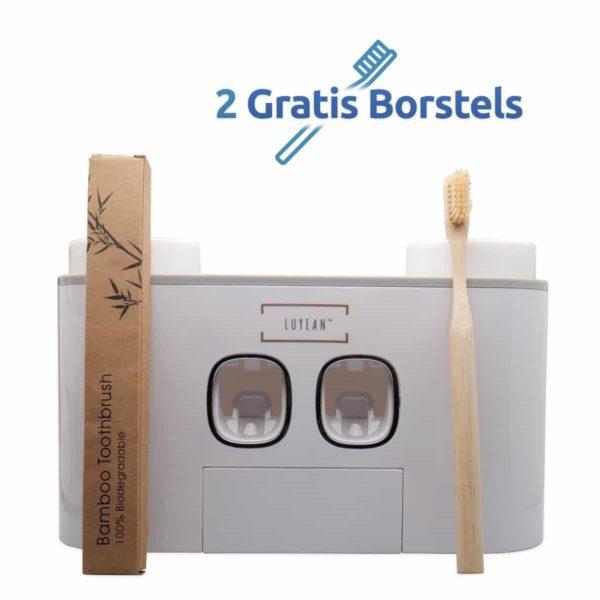 Tandpasta dispenser met 4 bekers + 2 bamboo tandenborstels - lichtgrijs