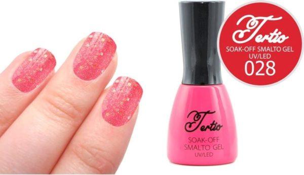 Tertio #028 Roze Rood Glitter - Gel nagellak - Gelpolish - Gellak