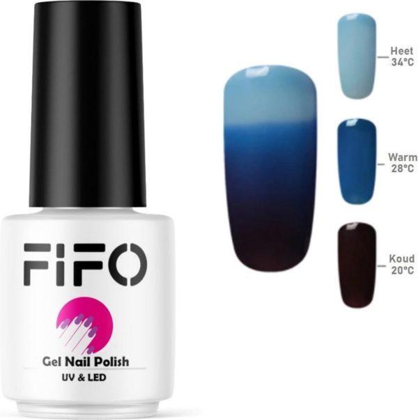 Thermo Gel Polish - Thermo Gellak - Temperatuurgevoelige nagellak - Thermische nagellak - #4209 ( Lichtblauw - Blauw - Zwart) - UV & LED