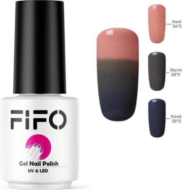 Thermo Gel Polish - Thermo Gellak - Temperatuurgevoelige nagellak - Thermische nagellak - Temperatuur veranderende - Kleur veranderende #4221 ( Roze - Grijs - Blauwgrijs ) - UV & LED