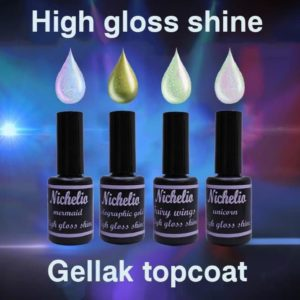 Top gel High gloss shine topcoat gellak 4 stuks 15ml gelpolish High gloss shine - fairy wings, High gloss shine - holographic gold, High gloss shine - mermaid, High gloss shine - unicorn