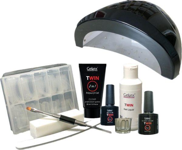 Twin Polyacryl Kit, Twin Polygel Starter Set incl. UV/Led lamp 48W, Polyacryl gel Starterspakket, Twin Clear