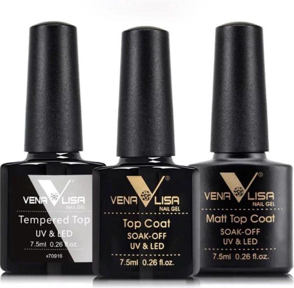 Venalisa - Gellak set - NL 2-dagen LEVERTIJD - Verschillende soorten topcoaten - Matt topcoat - Shiny topcoat - Gellak topcoat