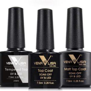 Venalisa - Gellak set - Verschillende soorten topcoaten - Matt topcoat - Shiny topcoat - Gellak topcoat