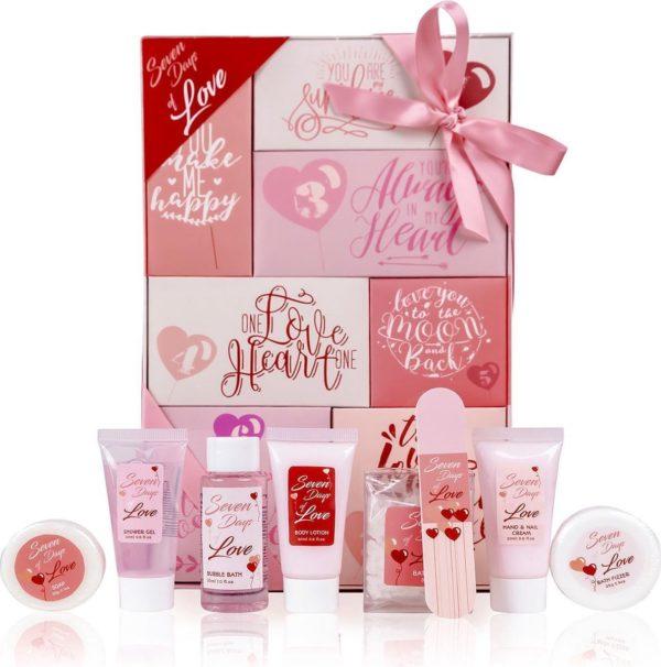 Verjaardag cadeau vrouw - 7 days of love badset - Romantisch cadeau voor haar, vriendin, vrouw