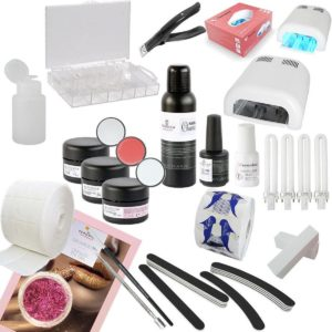 Veronica NAIL-PRODUCTS French manicure Gelnagels starterspakket, starter set MANICURE, compleet met gel lamp