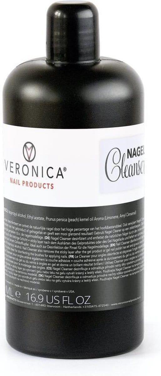 Veronica NAIL-PRODUCTS Nail cleaner / cleanser, 1/2 liter / 500 ml voor nagelstyliste in salonverpakking. Desinfecteert, reinigt penselen, verwijdert het plakkerig laagje van gelnagels & gelnagellak. Allround nagelproduct voor uw nagelsalon!