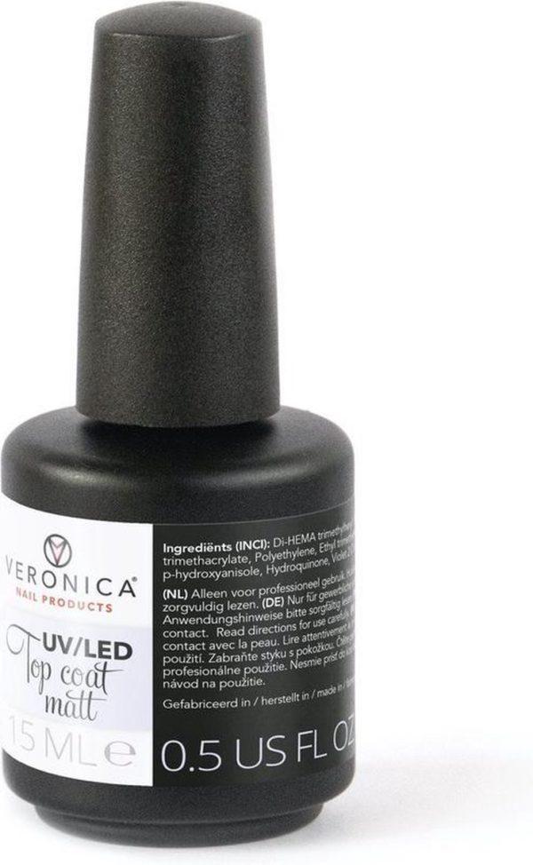 Veronica NAIL-PRODUCTS UV / LED MATTE TOP COAT voor ieder merk GELLAK, GEL POLISH, GEL NAGELLAK, NAGELLAK! Geniet 2-3 weken van perfect gelakte nagels.