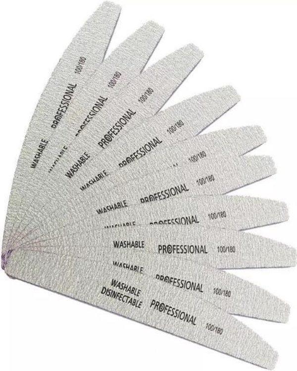 Vijlen - Half Moon - 15 stuks - Half Moon - Professional - Acryl- Gel -Polygel - gel nagellak - nagels - Vijlen - 100/180- Grit