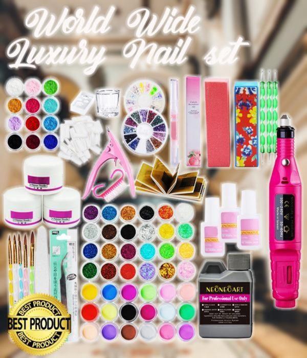WorldWide Luxury Nail Set|Acryl Nagel Starterspakket|54 kleuren|Kit|Nepnagels|Acryl Poeder|Acryl Nagels|Acryl Penselen|Nagelfrees