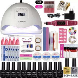 XL Gelnagels Starterspakket Met Elektrische Nagelfrees & 54 Watt UV LED Nagel Lamp - Gel Nagellak Starter Kit