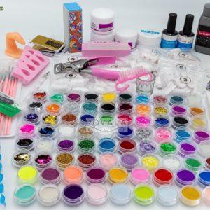 XXL Acrylnagels Pro Pakket | 132 delig | 76 potjes Kleuren / Glitters | Nageltips