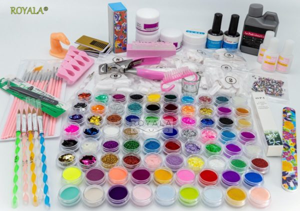 XXL Acrylnagels Pro Pakket   132 delig   76 potjes Kleuren / Glitters   Nageltips