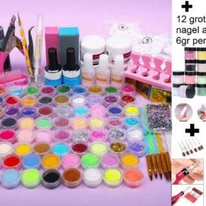 XXL Acrylnagels Pro Pakket uitgebreid | 130 Delig | incl. 12 Grote potjes Kleuren Acryl Poeders | Nail Art | Nageltips | Acryl Starter Kit