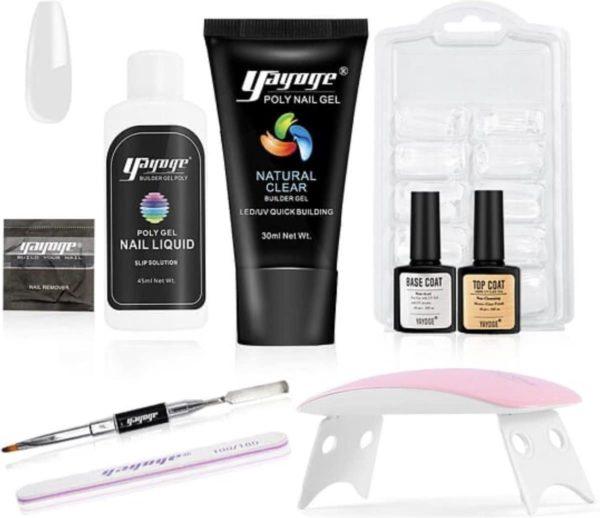Yayoge - Polygel kit - poly gel nagels - Nagelverlenging -1 kleur transparant/clear - starter kit - 7 delig - Roze led lamp - nagelvijl - Starterset voor Acrylgel - acryl