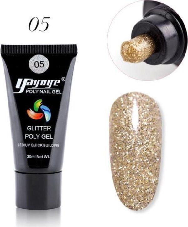 Yayoge - Polygel kleur goud met goud & zilver glitter - gelnagels kleur - polygel starterpakket - gelnagels starterspakket - gel nagellak - kunstnagels - nail art