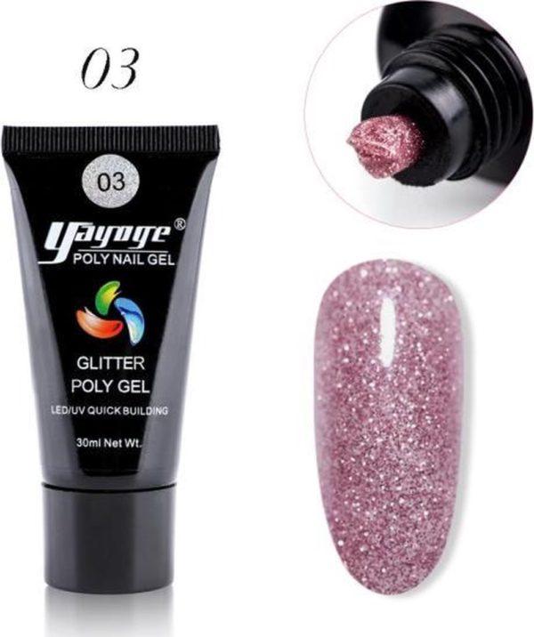 Yayoge - Polygel kleur roze met zilver glitter - gelnagels kleur - polygel starterpakket - gelnagels starterspakket - gel nagellak - kunstnagels - nail art