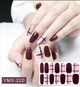 nagelstickers nail art ruit paars rood