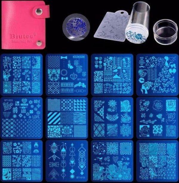 nail art stempel set 12 platen 1 Stamper 1 Schraper 1 opbergtas Stempelen plaat nagels stickers
